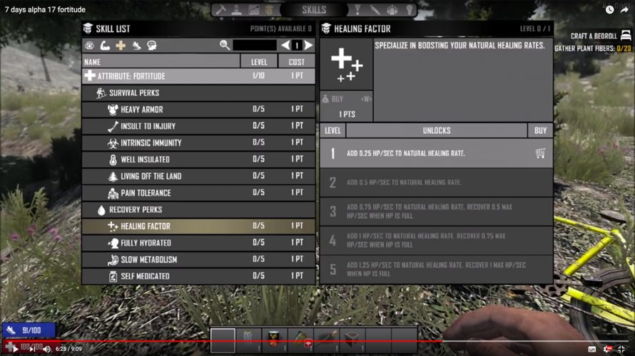 [ 7DTD a17 アップデート情報 ] 新パークシステムの紹介4(FORTITUDE)
